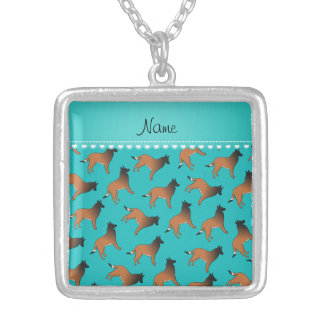 Personalized name turquoise belgian tervuren dogs square pendant necklace