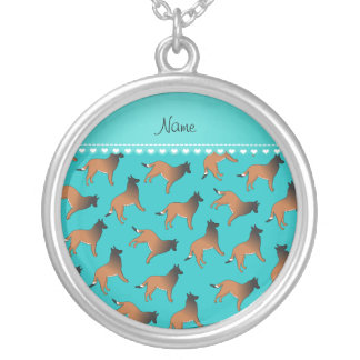 Personalized name turquoise belgian tervuren dogs round pendant necklace