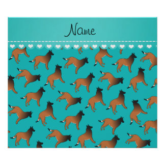 Personalized name turquoise belgian tervuren dogs poster