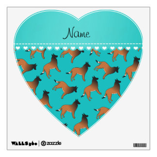 Personalized name turquoise belgian tervuren dogs wall decor