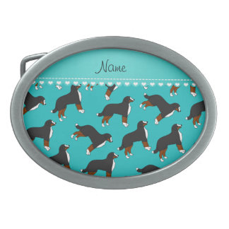 Personalized name turquoise Bernese Mountain dogs Oval Belt Buckle