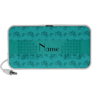 Personalized name turquoise bicycle pattern iPod speaker