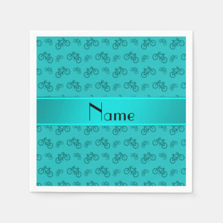 Personalized name turquoise bicycles napkin