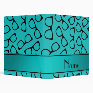 Personalized name turquoise black glasses 3 ring binder