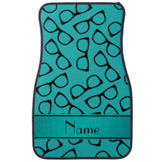 Personalized name turquoise black glasses car floor mat