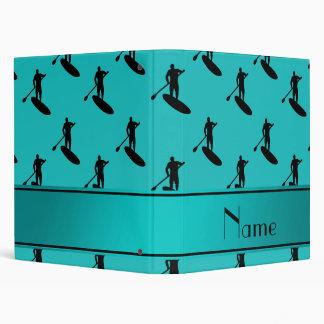 Personalized name turquoise black paddleboarding 3 ring binders