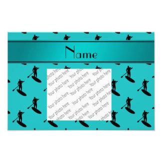 Personalized name turquoise black paddleboarding photo print