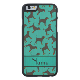 Personalized name turquoise black tan coonhounds carved® maple iPhone 6 case
