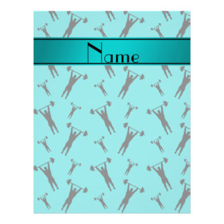 """Personalized name turquoise black weightlifting 8.5"""" x 11"""" flyer"""