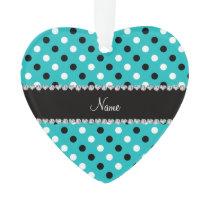 Personalized name turquoise black white polka dots ornament