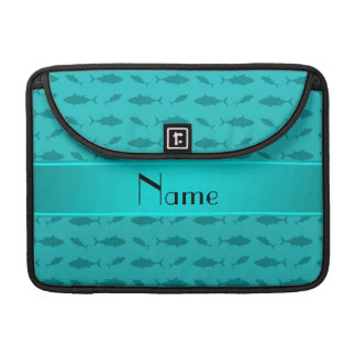 Personalized name turquoise bluefin tuna pattern MacBook pro sleeves