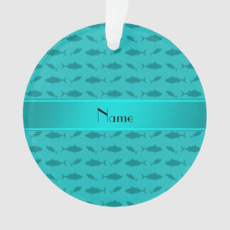 Personalized name turquoise bluefin tuna pattern ornament