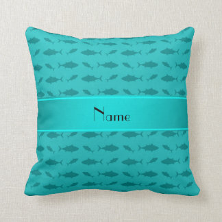 Personalized name turquoise bluefin tuna pattern pillow