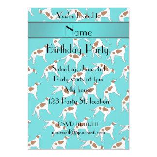 Personalized name turquoise borzoi dog pattern 5x7 paper invitation card