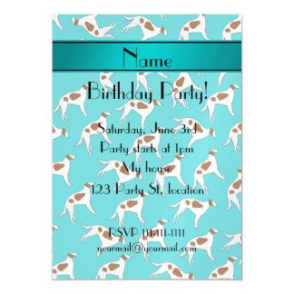 Personalized name turquoise borzoi dog pattern magnetic invitations
