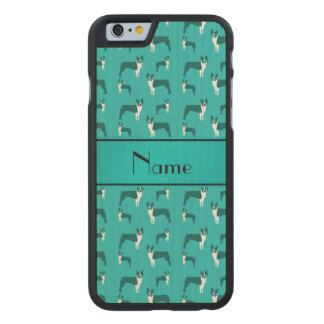 Personalized name turquoise boston terrier carved® maple iPhone 6 slim case