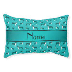 Personalized name turquoise boston terrier small dog bed