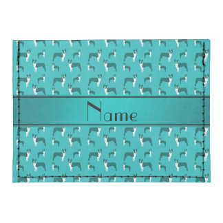 Personalized name turquoise boston terrier tyvek® card case wallet