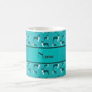 Personalized name turquoise boston terrier classic white coffee mug