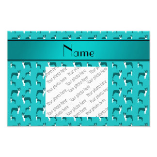 Personalized name turquoise boston terrier photo print
