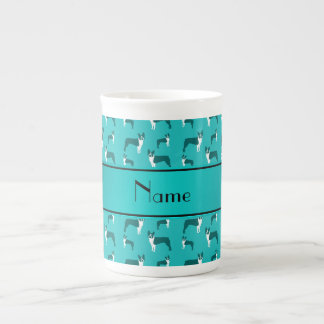 Personalized name turquoise boston terrier tea cup
