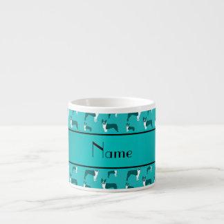 Personalized name turquoise boston terrier 6 oz ceramic espresso cup