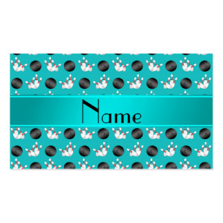 Personalized name turquoise bowling pattern business cards