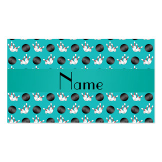 Personalized name turquoise bowling pattern business card