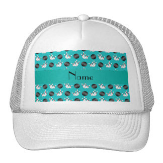 Personalized name turquoise bowling pattern trucker hat