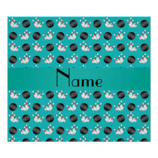 Personalized name turquoise bowling pattern posters