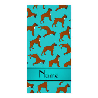 Personalized name turquoise boxer dog pattern photo card