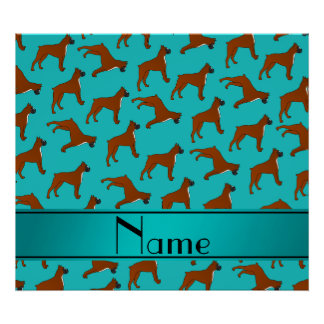 Personalized name turquoise boxer dog pattern poster