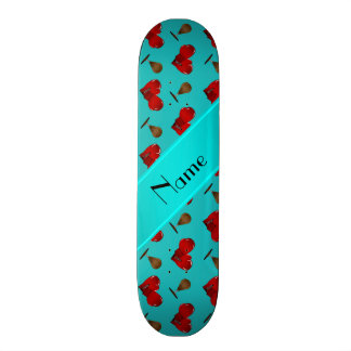 Personalized name turquoise boxing pattern skateboards