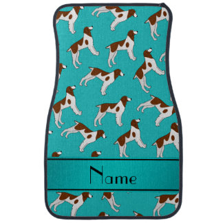 Personalized name turquoise brittany spaniel dogs car mat