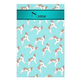 Personalized name turquoise brittany spaniel dogs stationery