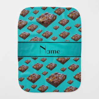 Personalized name turquoise brownies baby burp cloth