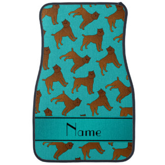Personalized name turquoise brussels griffon dogs car floor mat