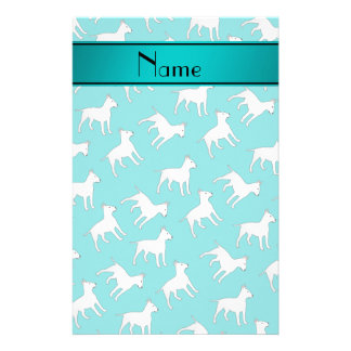 Personalized name turquoise bull terrier dogs stationery