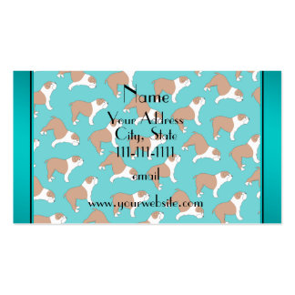 Personalized name turquoise Bulldog Double-Sided Standard Business Cards (Pack Of 100)