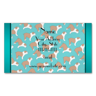Personalized name turquoise Bulldog Magnetic Business Cards (Pack Of 25)
