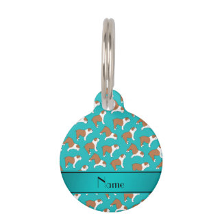 Personalized name turquoise Bulldog Pet Tags