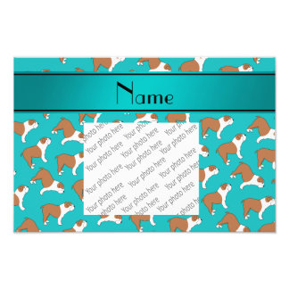 Personalized name turquoise Bulldog Photo Print