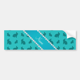 Personalized name turquoise bunnies car bumper sticker
