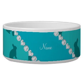 Personalized name turquoise bunnies dog water bowls