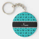 Personalized name turquoise butterfly pattern keychains