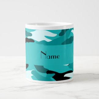 Personalized name turquoise camouflage giant coffee mug