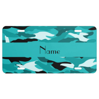 Personalized name turquoise camouflage license plate
