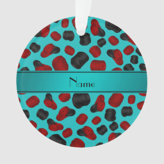 Personalized name turquoise checkers game