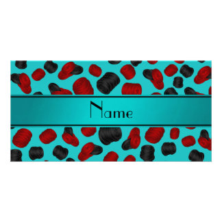 Personalized name turquoise checkers game photo card