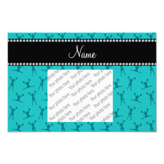 Personalized name turquoise cheerleader pattern photograph